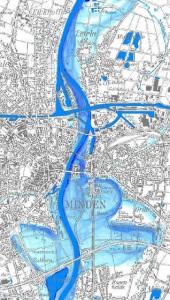 Überschwemmungsgebiet in Minden bei HQ100 HWAP Weser, StAfUA OWL ; 2005