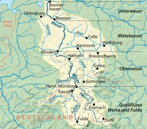 Einzugsgebiert der Weser, Quelle: wikipedia