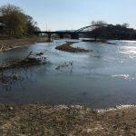 Hochwasser im Frühjahr, die Stadtblänke ist überschwämmt